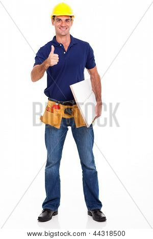 experienced carpenter giving thumb up isolated on white