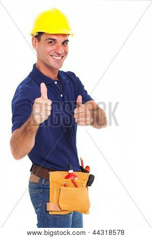 portrait of young constructor giving thumbs up over white background
