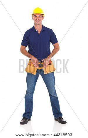 portrait of smiling handyman over white background