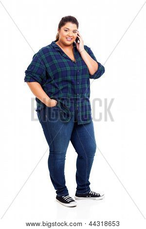 cute obese young woman using cell phone over white background