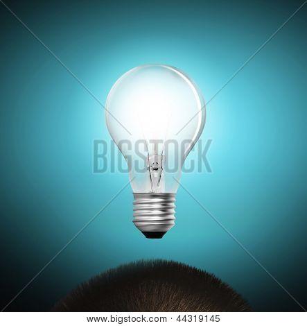 idea concept, lamp head businessman