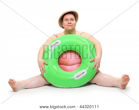 Funny lifeguard with life buoy. Support concept.