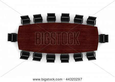 3d conference table and leather seats on white