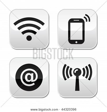 Wifi network, internet zone buttons set