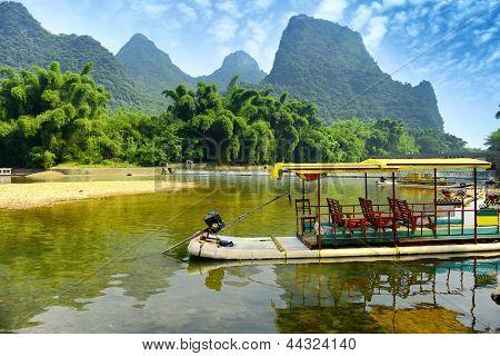 Bamboo rafting in Li River, Guilin - Yangshou China