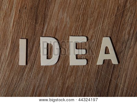 The word Idea made of letters on the wooden