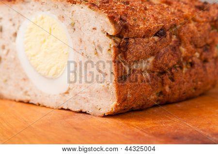 Meat Bread From Rissole Turkey On Wooden Board