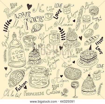 Vector illustration with french food