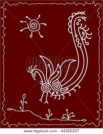 Tribal Bird Art, Folk Design