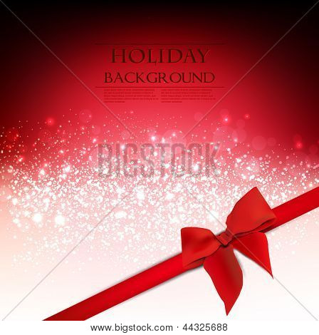 Elegant Holiday Red background with bow and place for text. Vector Illustration.