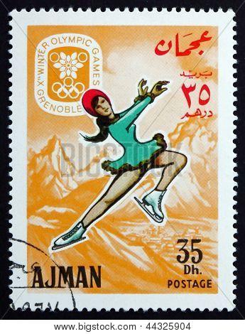 Postage Stamp Ajman 1967 Figure Skating, Winter Olympics