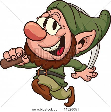 Happy dwarf miner. Vector clip art illustration. All in a single layer.
