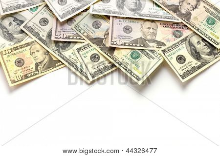 Dollar banknotes isolated over white with copy space