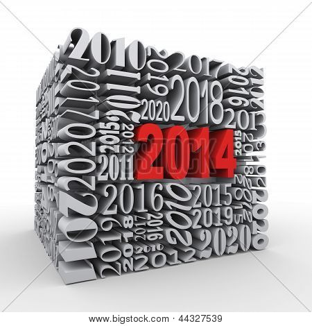 3D 2014 New Year Cube