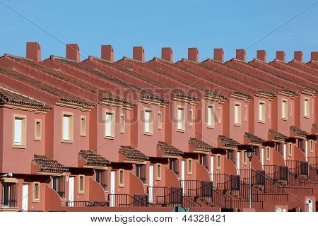 Row Of Red Residential Houses