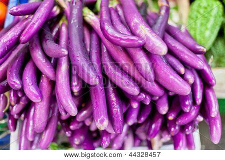 Eggplants On Sale In An Asian Market