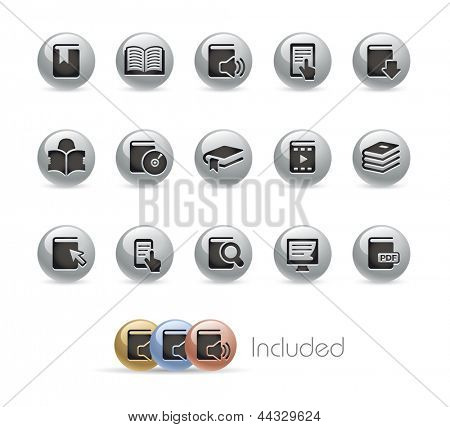 Book Icons // Metal Round Series --- It includes 4 color versions for each icon in different layers---