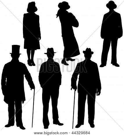 Gentleman and lady silhouettes