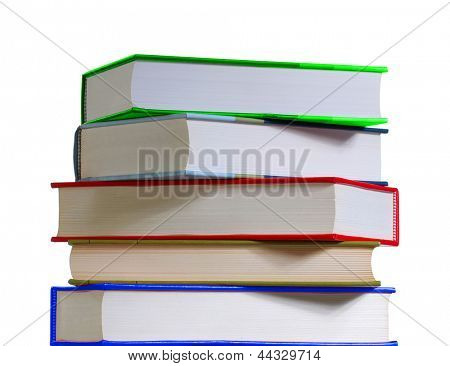 Colored book stack on white background.