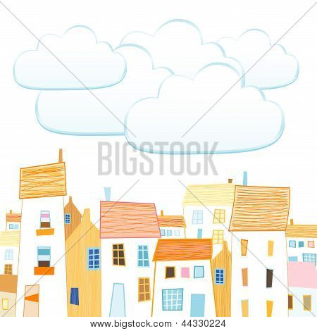 City And Clouds For Your Text