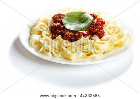 Spaghetti bolognese on white plate close-up