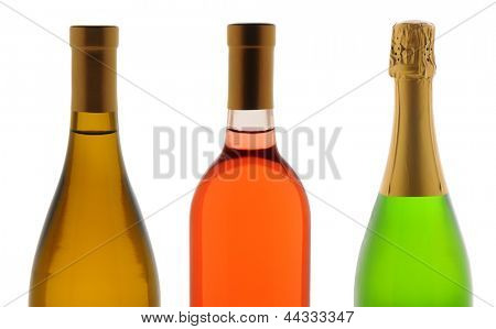 Closeup of the top half of three wine bottles over a white background. Wines are Chardonnay, White Zinfandel, and Champagne.