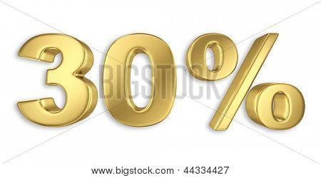 30% discount digits in gold metal, thirty percent off golden sign