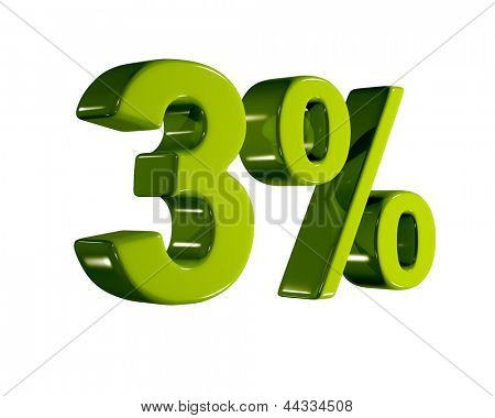 3D rendering of a 3 percent in green letters on a white background