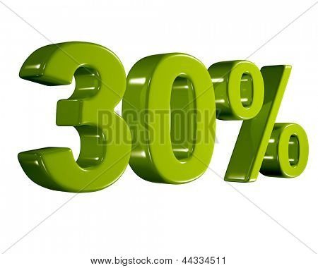 3D rendering of a 30 percent in green letters on a white background