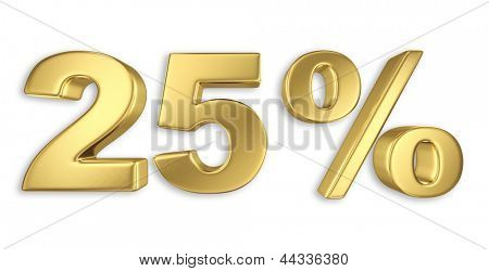 25% discount digits in gold metal, twenty five percent off golden sign