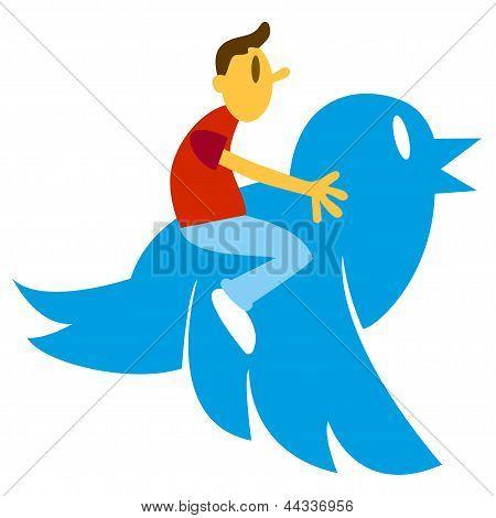 Hombre de gran pájaro azul
