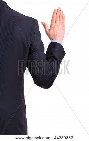 Business man taking oath.