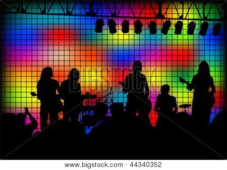 Vector image of musical group and light show