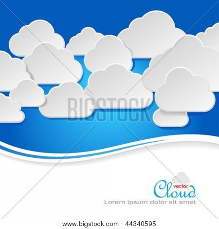 Cloud Technology -  Paper Clouds in blue sky
