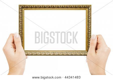 Frame in hands isolated on white background