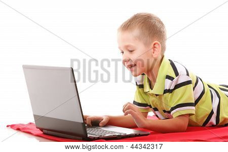 Computer Addiction Child With Laptop Notebook