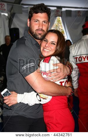 LOS ANGELES - APR 9:  Maksim Chmerkovskiy, Kate del Castillo at the Toyota ProCeleb Race Press Day 2013 at the Toyoto Grand Prix Circuit on April 9, 2013 in Long Beach, CA