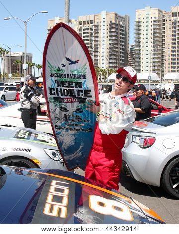 LOS ANGELES - APR 9:  Jackson Rathbone at the Toyota ProCeleb Race Press Day 2013 at the Toyoto Grand Prix Circuit on April 9, 2013 in Long Beach, CA
