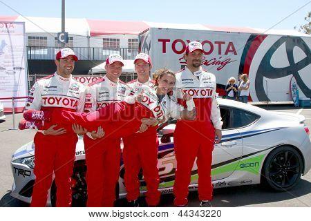 LOS ANGELES - APR 9:  Jesse Metcalfe, Brett Davern, Jackson Rathbone, Jeremy Sisto, holding Kate del Castillo at the Toyota ProCeleb Race Press Day 2013 on April 9, 2013 in Long Beach, CA