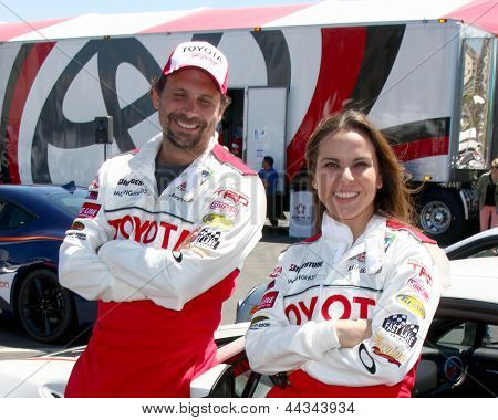 LOS ANGELES - APR 9:  Jeremy Sisto, Kate del Castillo at the Toyota ProCeleb Race Press Day 2013 at the Toyoto Grand Prix Circuit on April 9, 2013 in Long Beach, CA
