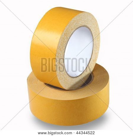 Two Rolls Of Yellow Double-sided Tape On A White Background, Isolated Image.