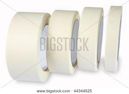 Masking Tape - Paper Krepp Tape, Cream White Masking Tape, Four Roll Isolated On White Background, H