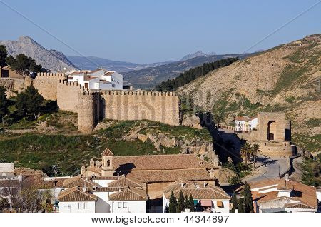 Part of town and town wall, Antequera, Spain.