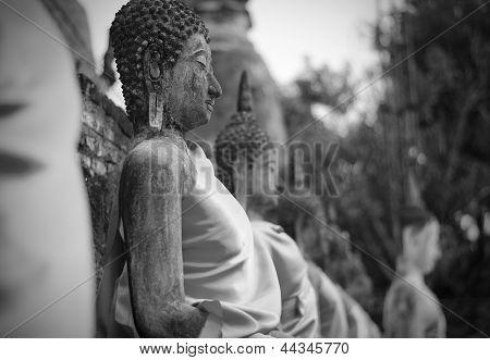 Ancient Buddha Statues At Wat Yai Chai Mongkol, Ayutthaya, Thailand