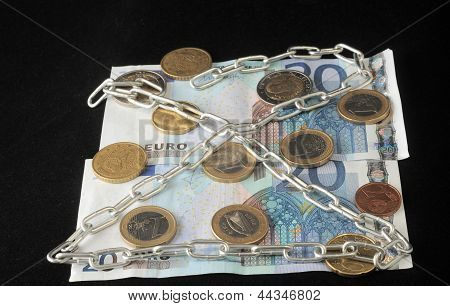 Euro currency in chains