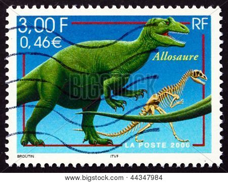 Postage Stamp France 2000 Allosaurus, Extinct Dinosaur