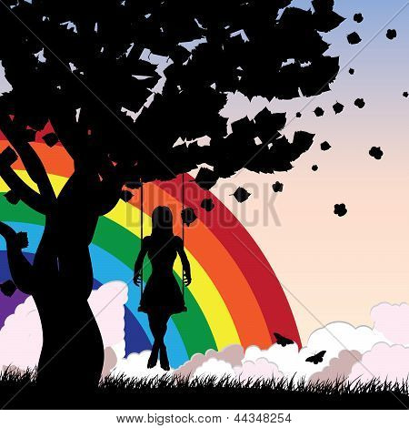 Girl On Swing And Rainbow