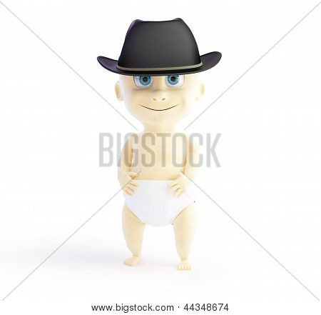 Child In A Hat Mafia 3D Illustrations On A White Background