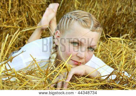 Woman On Straw
