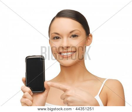 beautiful woman pointing at smartphone with sport app